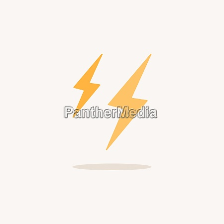 lightning color icon with shadow weather