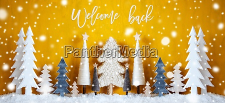banner christmas trees snowflakes yellow background