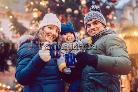family with child having fun at