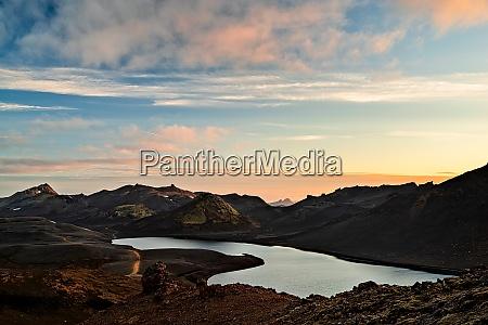 langisjor lake at sunset iceland