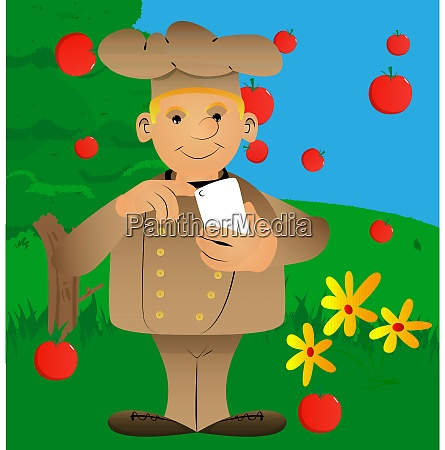 chef in uniform using a mobile