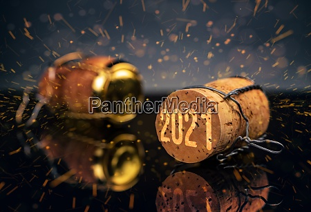champagne cork with year date 2021