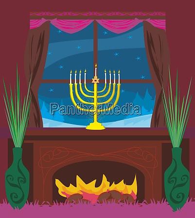candlestick in window hanukkah