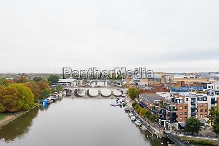aerial landscape view of a river