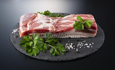 pork belly on a black stone