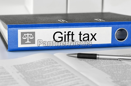 folder with the label gift tax