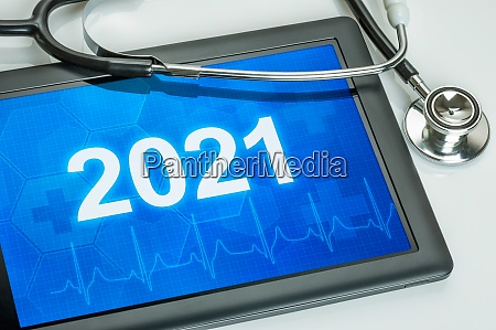 tablet with the number 2021 on