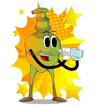 bottle, of, hand, sanitizer, gel, holding - 29015580