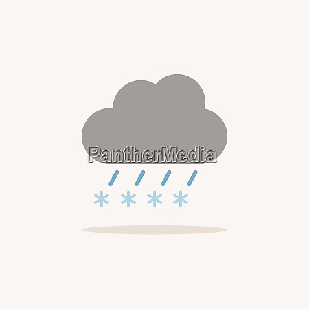 sleet and cloud color icon with