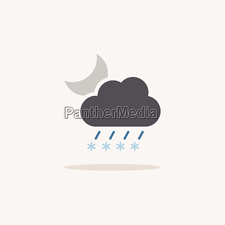 sleet cloud and moon color icon