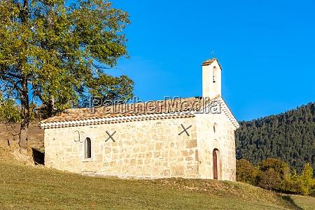 chapel in autumn landscape provence