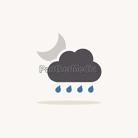 raindrops cloud and moon color icon