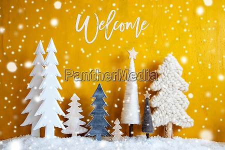 christmas trees snowflakes yellow background welcome