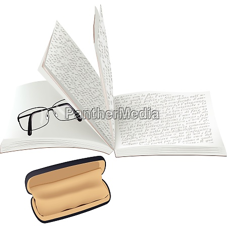 open and written book with glasses
