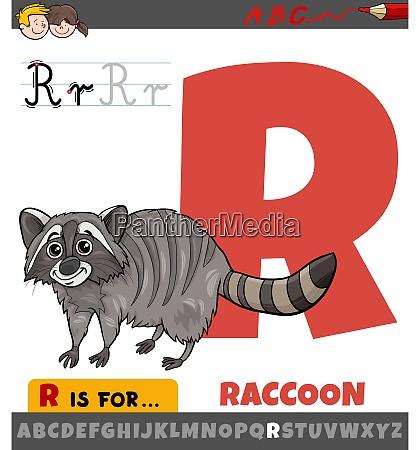 letter r worksheet with cartoon raccoon