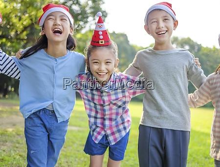 happy kids having fun in christmas