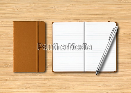 leather closed and open lined notebooks