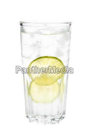 side view of gin tonic cocktail