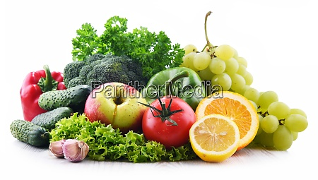 composition with fresh vegetables and fruits