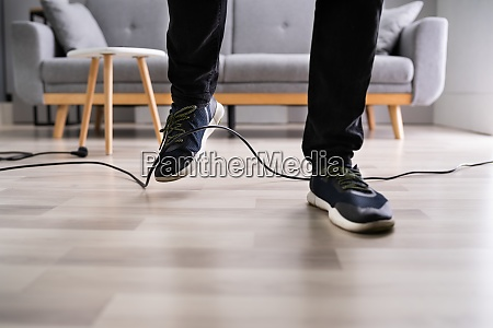 stumble over cable clumsy office falldown