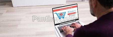online ecommerce shop on laptop