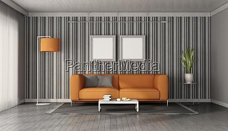 orange sofa in a modern living