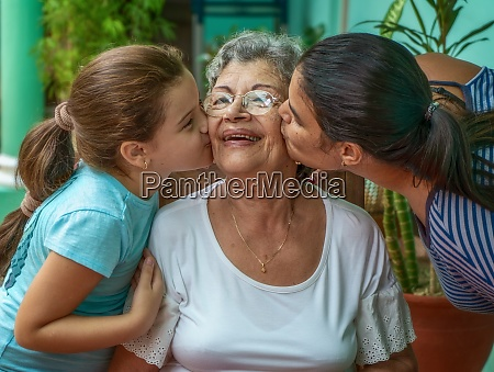 kissing the old woman