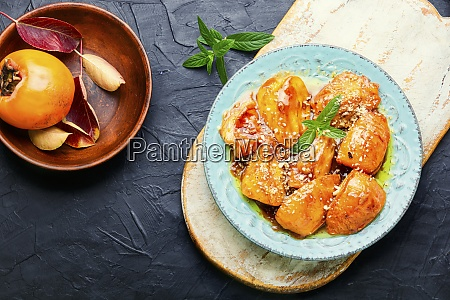 pieces of caramelized persimmon