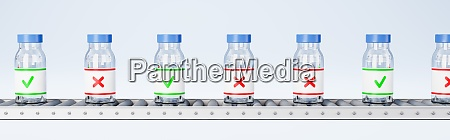 medicine bottles on conveyor belt quality