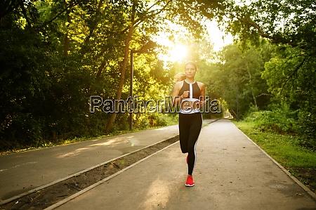 morning run woman on training in