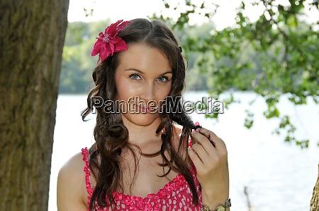 beauty girl in pink