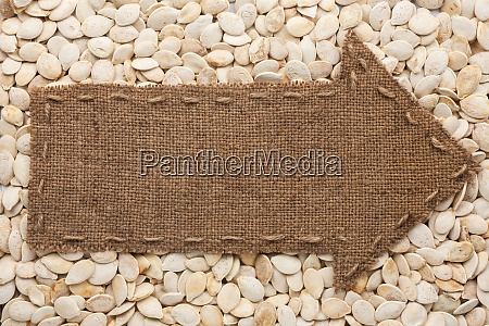 pointer of burlap lies on