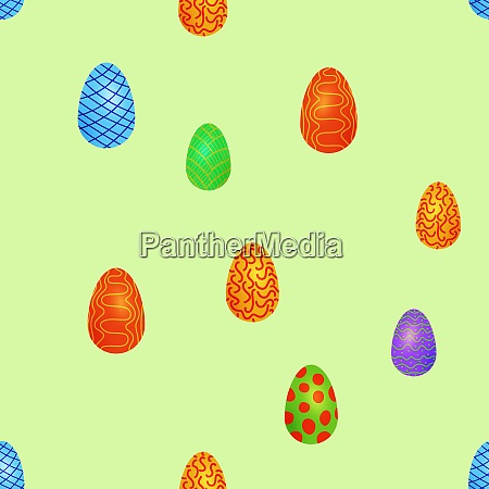 doodle easter eggs chaotic seamless