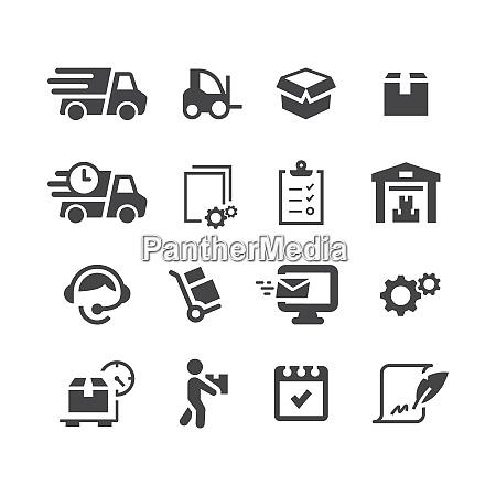 fulfilment black vector icon set