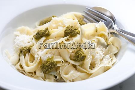 pasta tagliatelle with green pesto