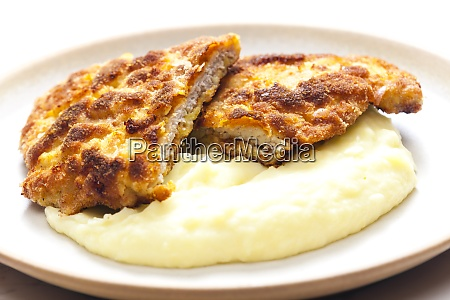 pork schnitzel with mashed potatoes
