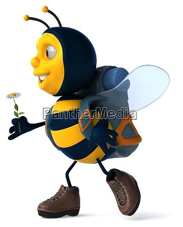 fun backpacker bee 3d illustration