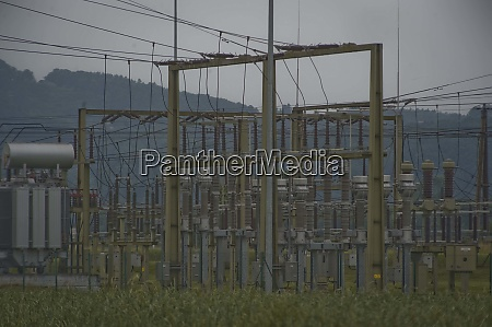 an electrical substation and electricity transformer