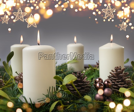 four burning candle in advent season
