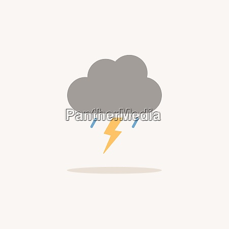 storm color icon with shadow weather