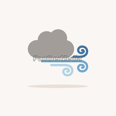 strong wind and cloud color icon