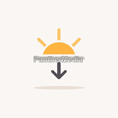 sunset color icon with shadow weather