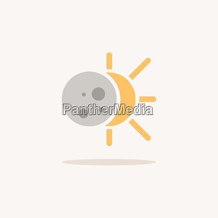 solar eclipse color icon with shadow