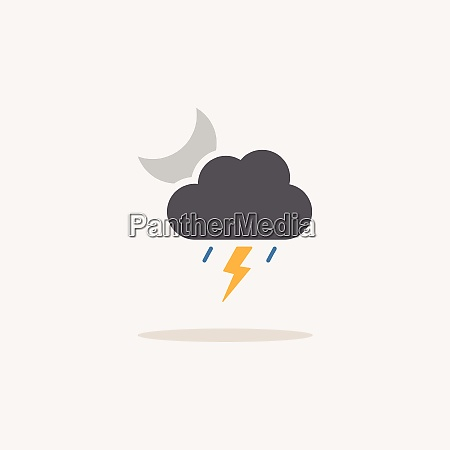 storm and moon color icon with