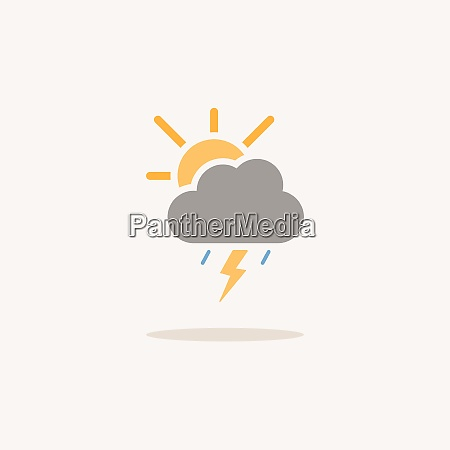 storm and sun color icon with