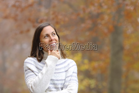 pensive middle age woman in a