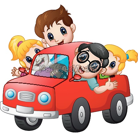 happy family travelling with a car