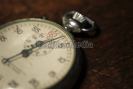 close up of antique stop watch