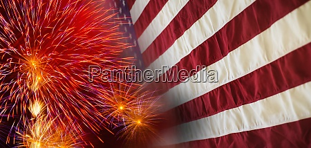 digital composite of fireworks and american