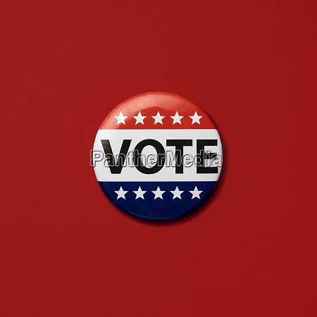 vote badge on red background